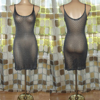 Vintage 90s Steel Gray Crochet Rayon Lace Slip Dress See Through Sheer Mesh BOHO Festival Grunge