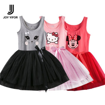 2016 girls dress hello kitty minnie Girl sleeveless dresses children Christmas princess party clothes kids clothes girl clothes