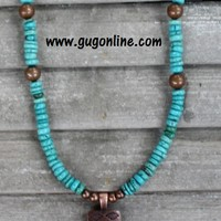 Turquoise and Copper Beaded Necklace with Cross