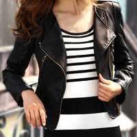 Black Flip Collar Zip Faux Leather Cropped Jacket