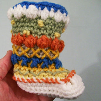Baby Mukluks Granny Boots-Crochet-White bottom -Baby Shower Gift--0/3M