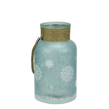 """10"""" White and Blue Iced Glittered Snowflake Decorative Pillar Candle Holder Lantern with Handle"""