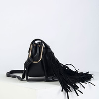 Black Weave Fringe Cross Body Bag