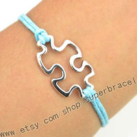Puzzle Piece bracelet, Autism Awareness bracelet in silver, the JigSaw Puzzle bracelet, Graduation, the gift of friendship, Christmas gifts