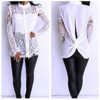 Women's Fashion Shirt Floral Hollow Out Lace Patchwork Stylish Scales [52178976794]