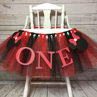 Minnie Mouse High Chair Tutu - Red and Black  HighChair Tutu- Highchair Banner- High Chair Banner- Minnie Mouse First Birthday- Minnie tutu