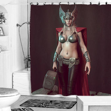 Lady thor shower curtain