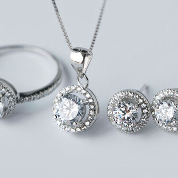 925 Sterling silver crystal rhinestone round jewelry set,personalized fashion jewelry, a perfect gift