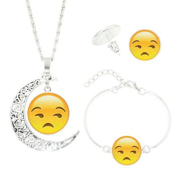 Statement Chain Crescent Moon Necklace Stud Earrings Bracelet Bangle Set