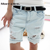 Cotton Casual Plus Size 4XL 2017 Hot Women's Jeans Short Dog Embroidery Holes Ripped Pockets  Knee Length Denim Shorts