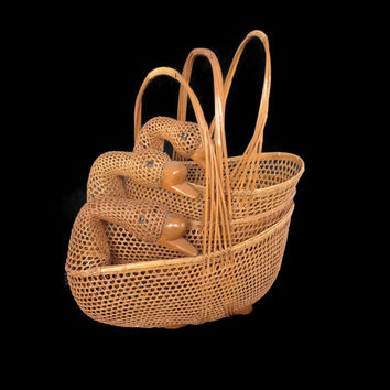 Vintage Nesting Baskets Lacquer Ducks or Geese Rattan Woven Handled Baskets Home Decor Graduated Sizes Open Weave Wildlife Kitchen Storage
