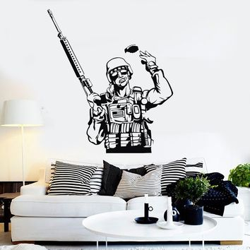 Vinyl Wall Decal American Soldier Military Art Boy Room Stickers Unique Gift (ig3945)