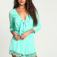 MINT KNOTTED CROCHET TRIM ROMPER