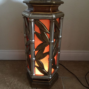 Hollywood Regency Faux Bamboo Table Lamp Vintage Mid Century Gold Silver Orange Ceramic With Night Light
