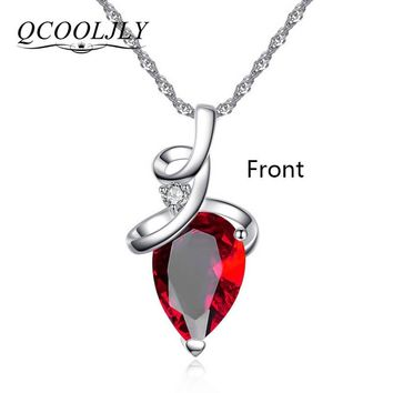 QCOOLJLY Women 3 Colros Austrian Crystal Pendant Chain Necklace Pendant For Women Jewelry Statement Bijouterie Gift
