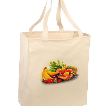 Watercolor Fruit Bowl 1 Large Grocery Tote Bag
