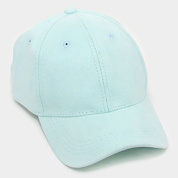 Mint Faux Suede Baseball Cap With Velcro Closure, One Size Fits All, Unisex Gift Idea