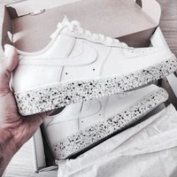 NIKE AIR Force 1 White Women Men Trending Leisure Sneskers B-CSXY White Starry Sky Sole