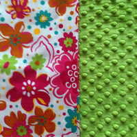Baby Blanket (28 x 28 inches) Pink and Green Flowered Cotton and Minky with loop to link Stroller or Car Seat - Option to Personalize Copy