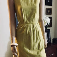 Yellow A-Line Dress, Size 6, Cowl Neckline, Cassis, Antique Alchemy