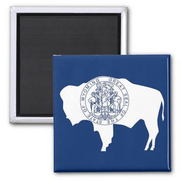 Magnet with Flag of Wyoming State - USA