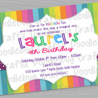 Rainbow Theme Birthday Party Invitations! Custom Personalized Invitations. 24hr turn around. Choose Your Size 4x6 or 5x7