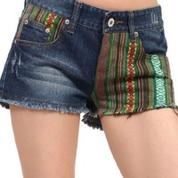 Bohemia Style Colorful Strip Spliced Shorts