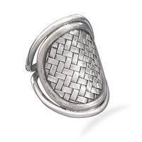 CleverSilver's Oval Weave Design Sterling Silver Ring
