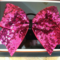 "3"", 3 inch cheer cheerleader bow- HOT pink sequins all over"