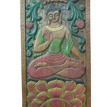 "Hand Carved Wall Panel Vitarka Teaching Buddha India Door 72"" X 36"""