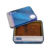 Minnesota Timberwolves Leather Trifold Wallet (Brown)