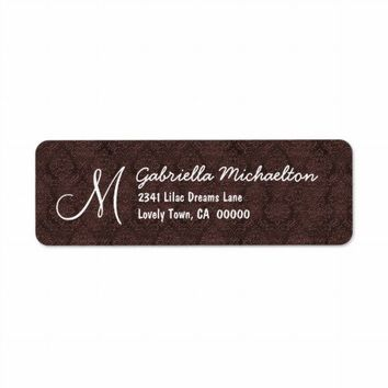 Chocolate Damask Monogram M or Any Initial Custom Return Address Labels