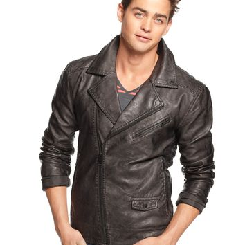 GUESS Jacket, Faux Leather Moto - Coats & Jackets - Men - Macy's