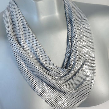 Vintage Mesh Necklace,WHITING & DAVIS Mesh Bib,Unusual Grey Mesh Necklace,Runway Statement Jewelry,High End Costume Jewelry,Slinky Necklace