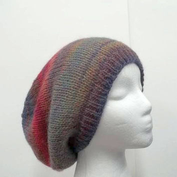 Knitted slouch hat, colorful, oversized beanie, knit hat    5176