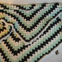 Crocheted Baby Blanket, Mint, Charcoal Grey and Winter White, Small Lapghan, Receiving Blanket