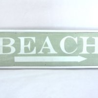 This Way to the Beach Weathered Coastal Decorative Framed Sign with Arrow - 23-in (Florida Keys Green)
