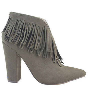 The Manika Bootie in Olive