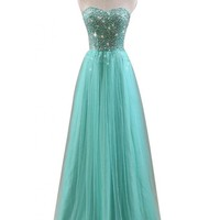 Gorgeous Bridal 2014 Fairy Prom Dress Long Strapless Tulle Rhinestones- US Size 6