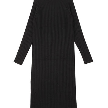 Long Sleeve Pleated Knitted Maxi Sweater Dress