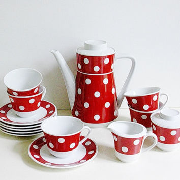 "Seltmann Weiden coffee / tea set ""Cora"" with polka dots, Germany"