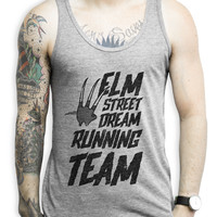 Elm Street Running Team on an Athletic Grey Tank Top