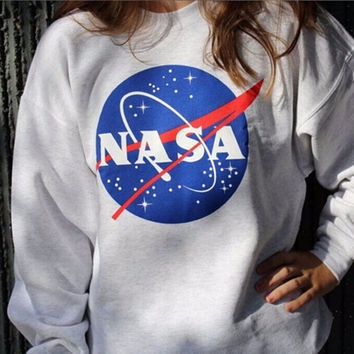 NASA Letters Printed Long Sleeve T Shirt Sweatshirt