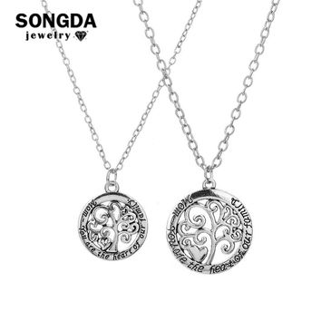"SONGDA Tree of Life Carved Tree Medallion Necklace ""Mom"" Lettering Guard Love Just for You Necklaces Pendants Mothers Day Gift"