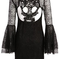 Black Lace Look Spiderweb Textured Bell Sleeve Dress with Cutout Skull Back - Size Small
