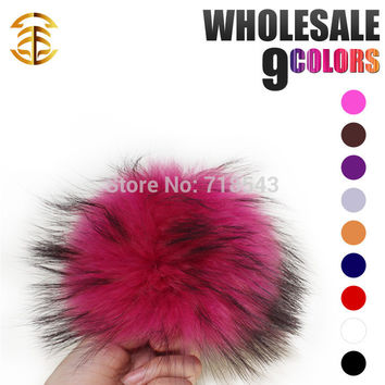 handmade raccoon fur ball 12-13cm pom poms key chain fur hat caps colours available gift for children accessory fur balls