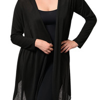 Black Plus Size Trendy Sheer Open Front Long Sleeve Cardigan