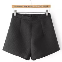 Black Textured Mini Shorts