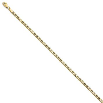 3mm 10k Yellow Gold Concave Anchor Chain Necklace