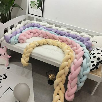 100/200/300cm  Four Ply Knot Handmade Long Knotted Braid Weaving Plush Baby Crib Protector Infant Pillow Decor Baby Bed Bumper